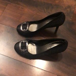 Gianni Bini. Black heels with silver buckle detail
